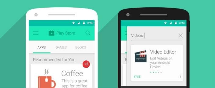Google Play Store Android L Görünümüne Geçti Bile