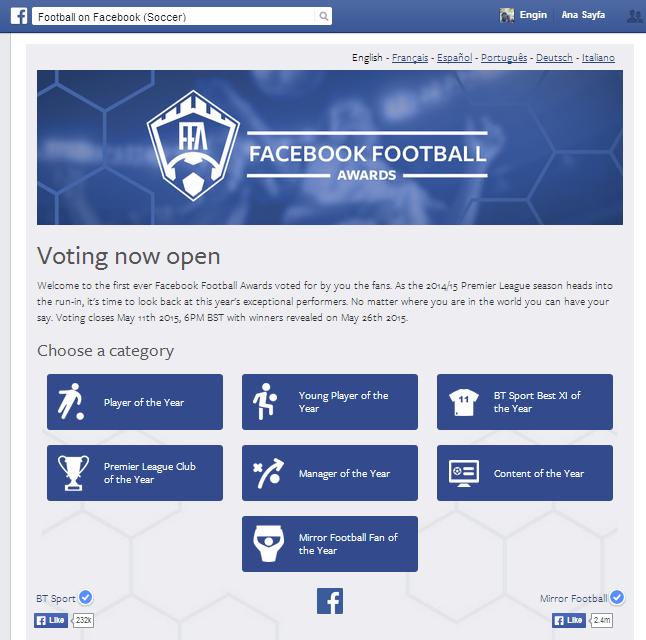 Facebook Bizzat Futbol Ödüllerini Verecek