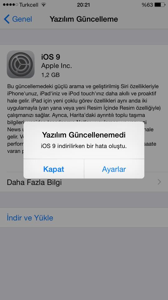 iphone yazılım güncelleme hatası 39