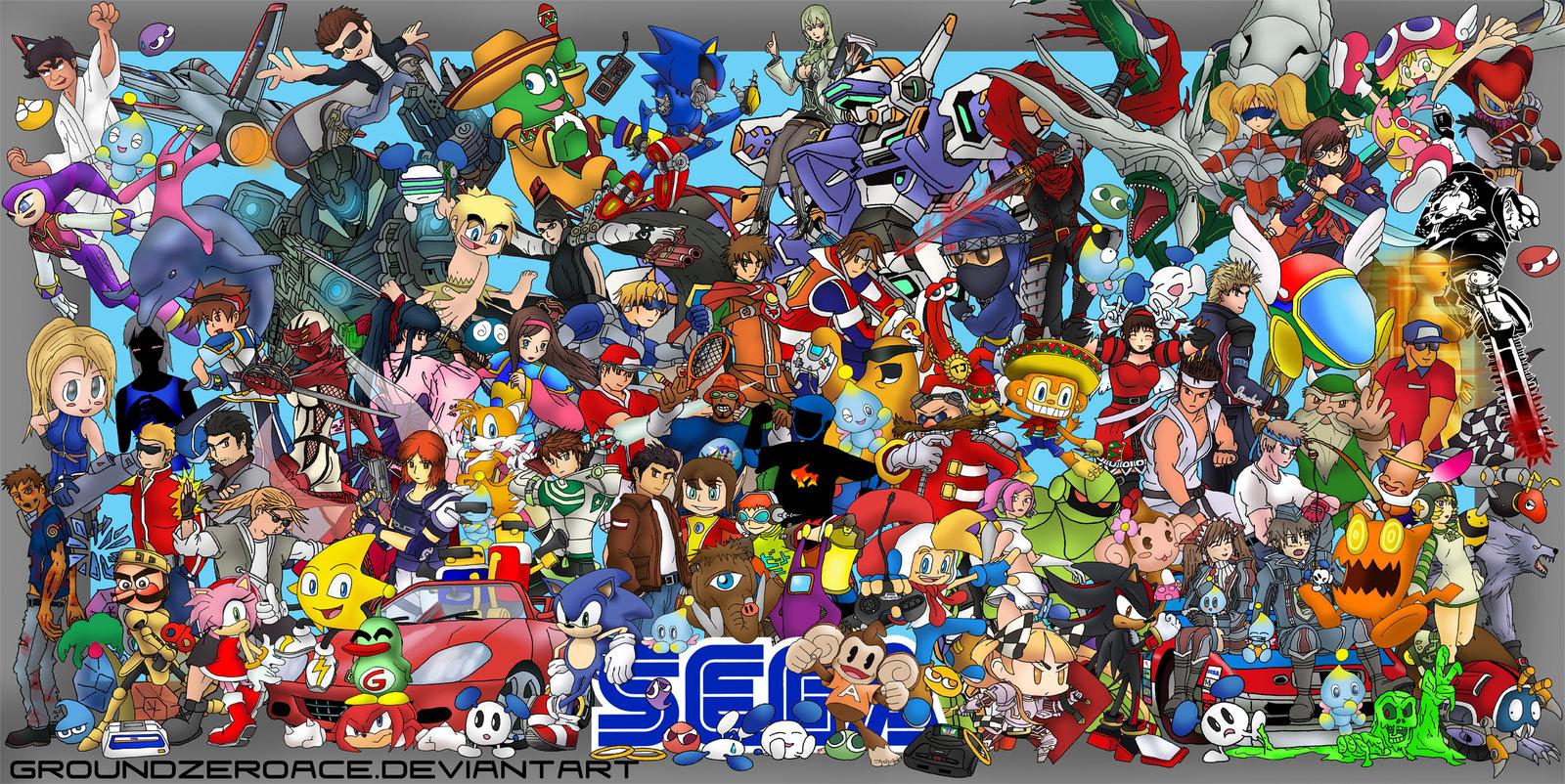 Video Game Character Collage Wallpaper SEGA, 19 Mobil Oyununu...