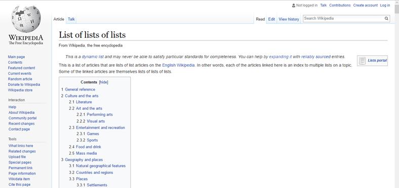 Listelerin Listelerinin Listesi