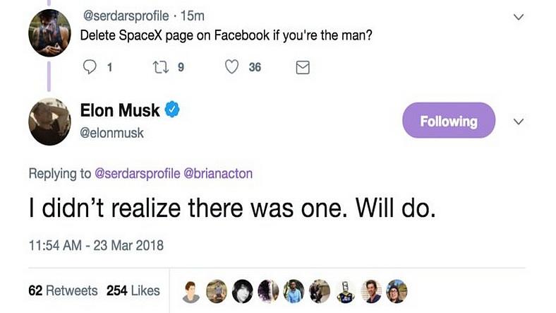 Elon Musk, SpaceX'in Facebook Sayfasını Sildi!