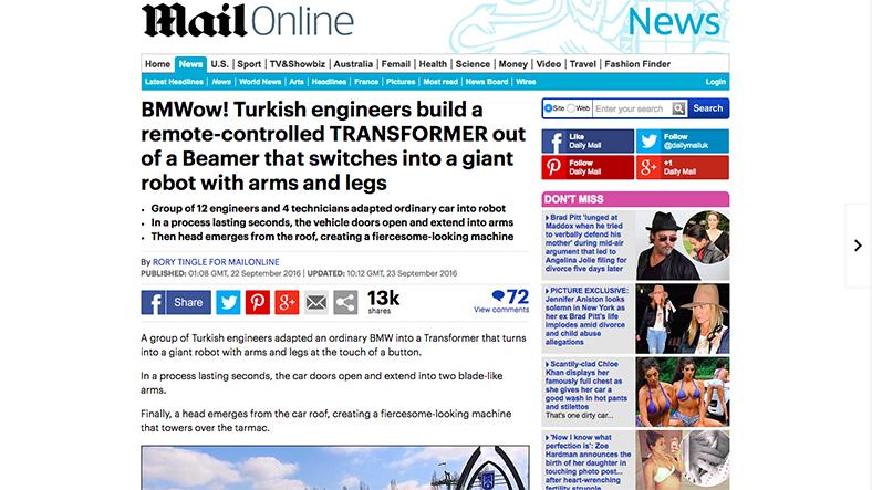 BMWow! Türk Mühendisler Uzaktan Kontrol Edilebilen Kolları ve Ayakları Olan Gerçek Bir Transformer Üretti (Daliy Mail)