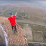 240 Metre Yükseklikte, Tek Tekerli Bisikletle Yapılan İnanılmaz Tehlikeli Gösteri