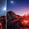 Samanyolu Galaksisi, Ay, Bir Meteor ve Lavların Bir Arada Olduğu Olağanüstü Görüntü!