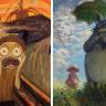 Ünlü Tabloları Çizgi Karakterlerle Yeniden Canlandıran Ressamın Birbirinden Güzel Resimleri